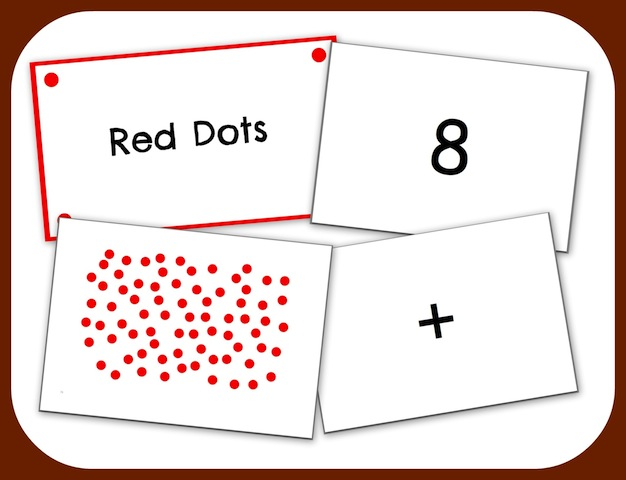 Owlissimo random red dots flash cards collage