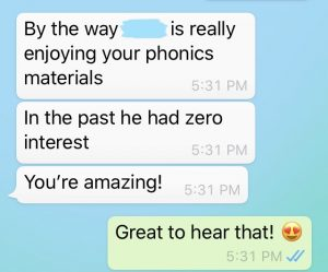 testimonial Montessori phonics